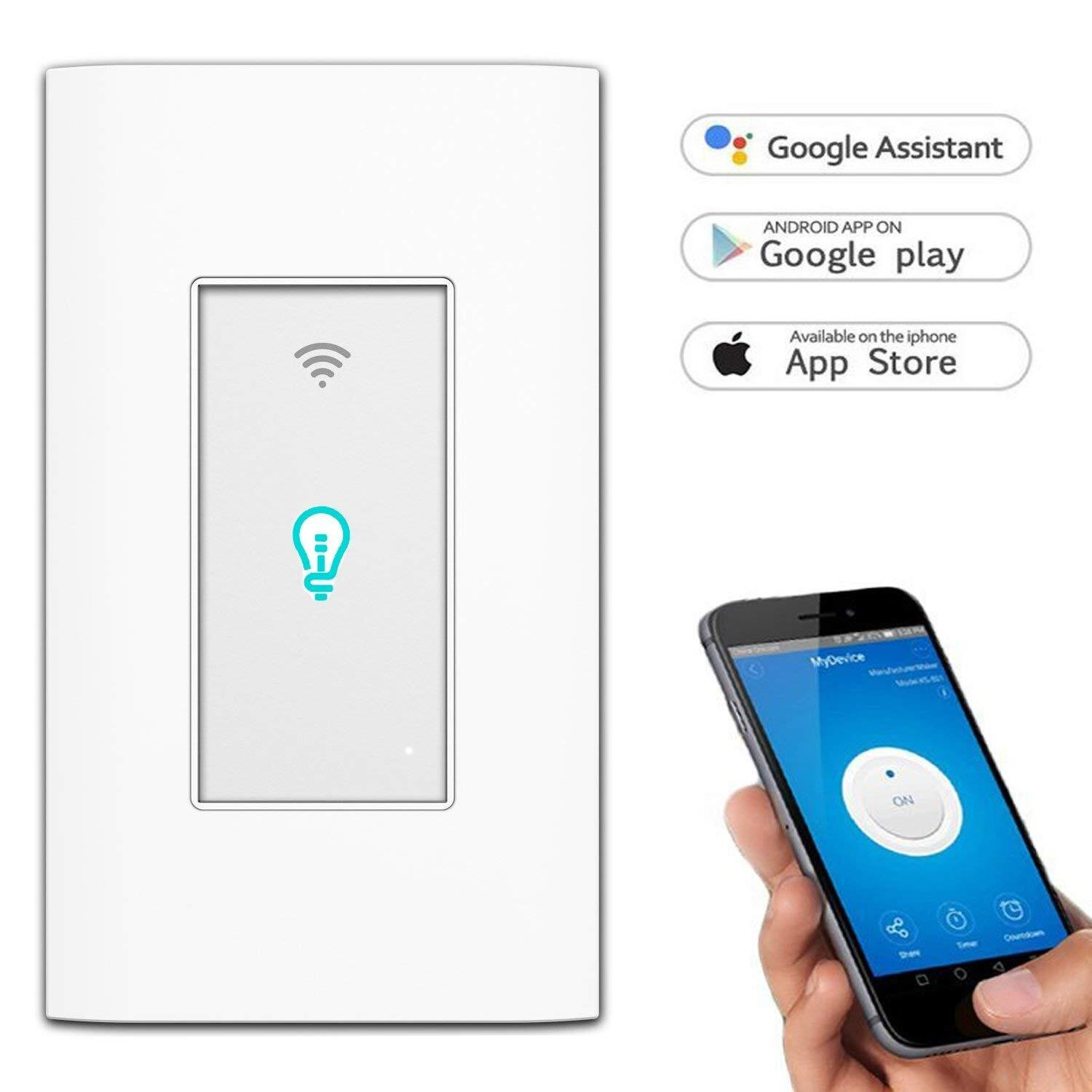 Smart Switch, WiFI In-Wall Wireless Touch Light Switch Compatible with  Amazon Alexa and Google Home, Remote Control Lights and Appliances Timing