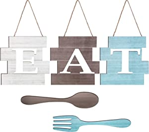 Yookeer Set of 5 Pieces Eat Sign Wall Decor, Rustic Farmhouse Spoon Fork Wooden Sign Decoration Country Wall Art Decorative Hanging Wooden Letters for Kitchen Home (Light Gray, Dark Brown, Light Blue)