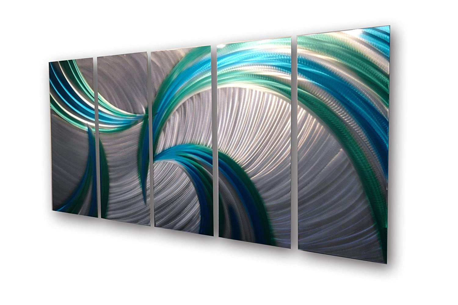 Amazon com miles shay metal wall art modern home decor abstract wall sculpture contemporary tempest 36 blue green posters prints