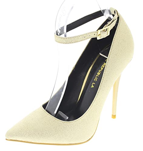 d76fa036a3b2 Shoe Republic Pointy Toe Stiletto Pump w Thin Ankle Strap Audrey (Gold  Sparkle 6