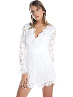 80c225f26d BARGOOS Women Winter Deep V Neck Lace Floral Long Sleeve Hollow Out Sexy  See Through Mini