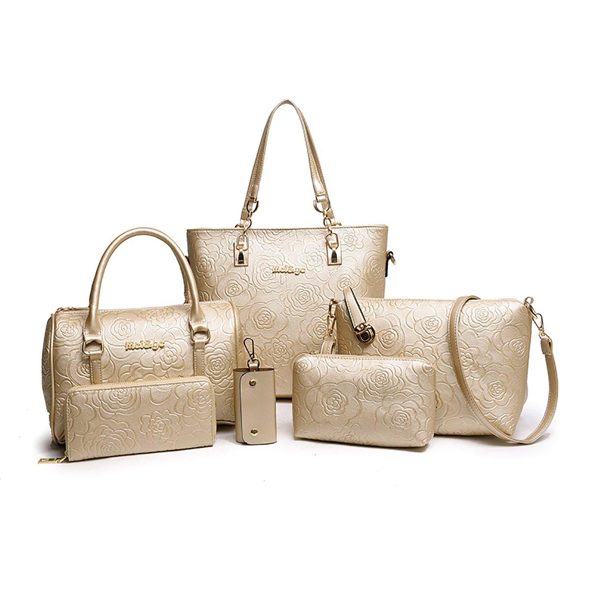 Tisdaini Sac à main en main à la main pour femme Sac à main 6 pièces + sac à bandoulière + sac messager + portefeuille KA-KUK20705