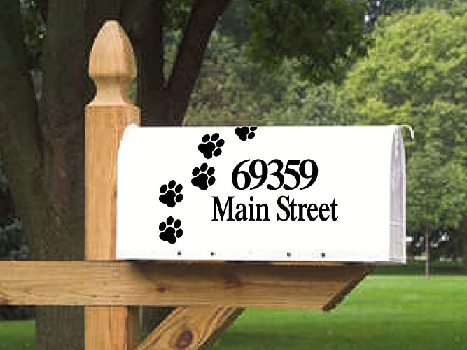 Paw print mailbox lettering for 2 sides personalized vinyl die cut decals sticker