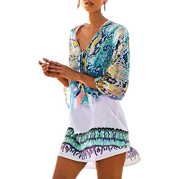 f2b90b0b30 Image Unavailable. Image not available for. Color: Fasker Womens Bathing  Suit Swimwear Beach Cover Up Bikini Coverups Swimsuit Shirt Dress