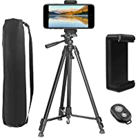 """Tripod for Phone, PEYOU [3 in 1] Upgraded 62"""" Lightweight Aluminum Camera Tripod + Universal Cell Phone Holder Mount with Bluetooth Remote Shutter for iPhone XS/XS Max/X 8/8 Plus 7/7 Plus 6/6 Plus 5, For Samsung Galaxy S9/S9 Plus S8/S8 Plus S7/S7 Edge S6 Edge/S6 S5 and More Phones & Cameras"""