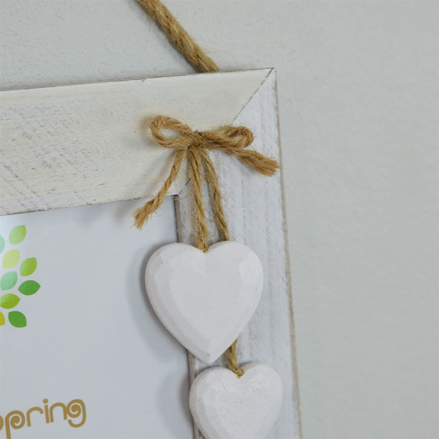 6 x 4 Nicola Spring Triple White Wooden 3 Photo Hanging Picture Frame With White Hearts