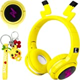 Kids Wireless Bluetooth Headphones,Cute Pikachu Over-Ear Headphones with Built-in Microphone,Wireless and Wired Headset for P
