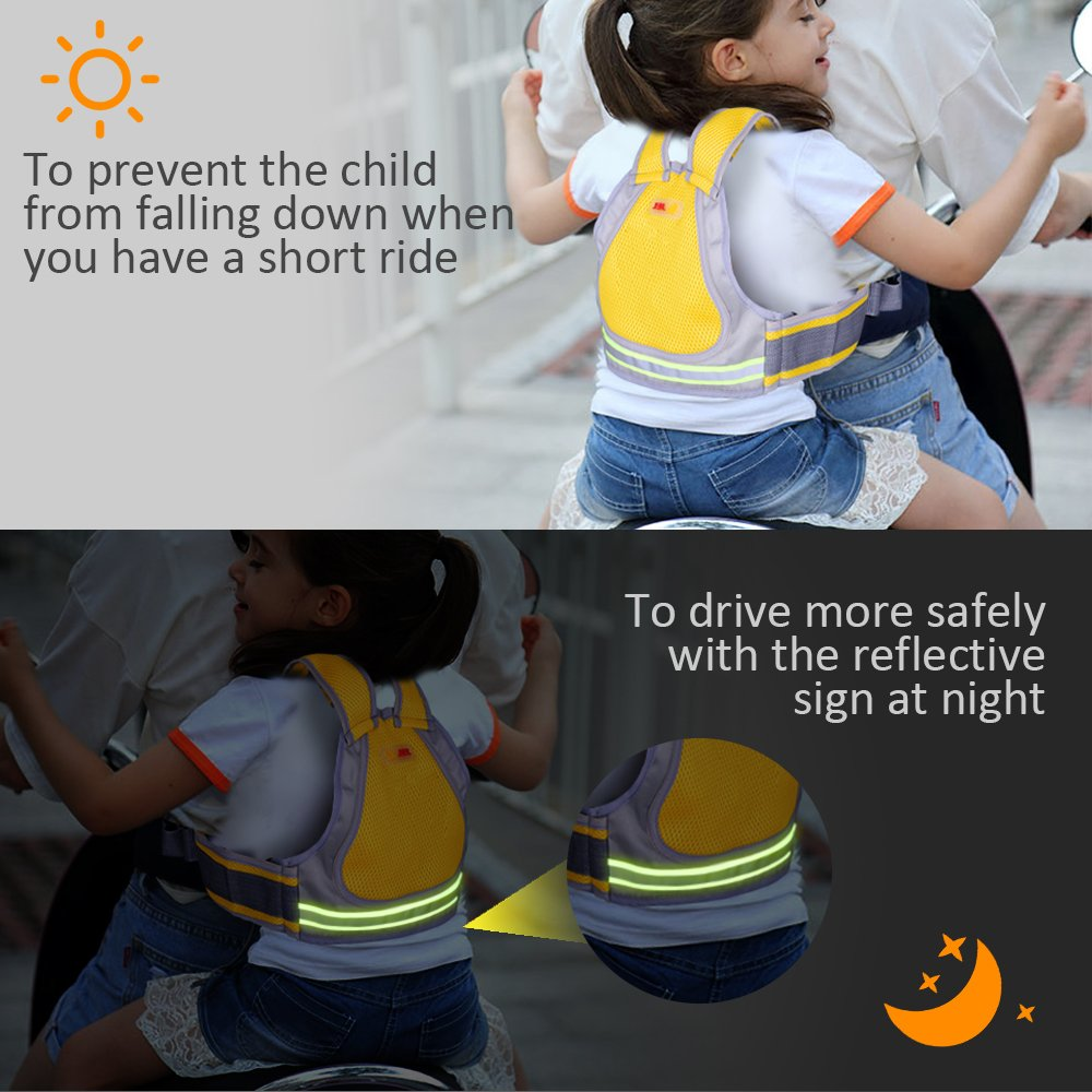 Jolik Child Motorcycle Safety Harness with 4-in-1 Buckle, Breathable Material in Yellow by Jolik (Image #5)