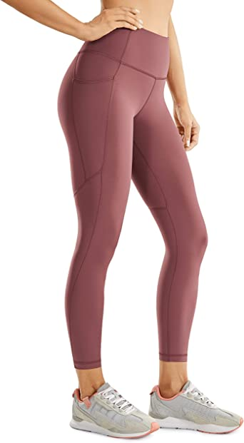 CRZ YOGA Women's Naked Feeling High Waisted Workout Pants Yoga Leggings Capri with Side Pockets -23 inches