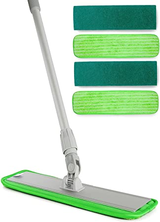 Aluminum Alloy Microfiber Mop   Includes 2 Microfiber Pads, 2 Scrubbing  Pads   Dry Dust