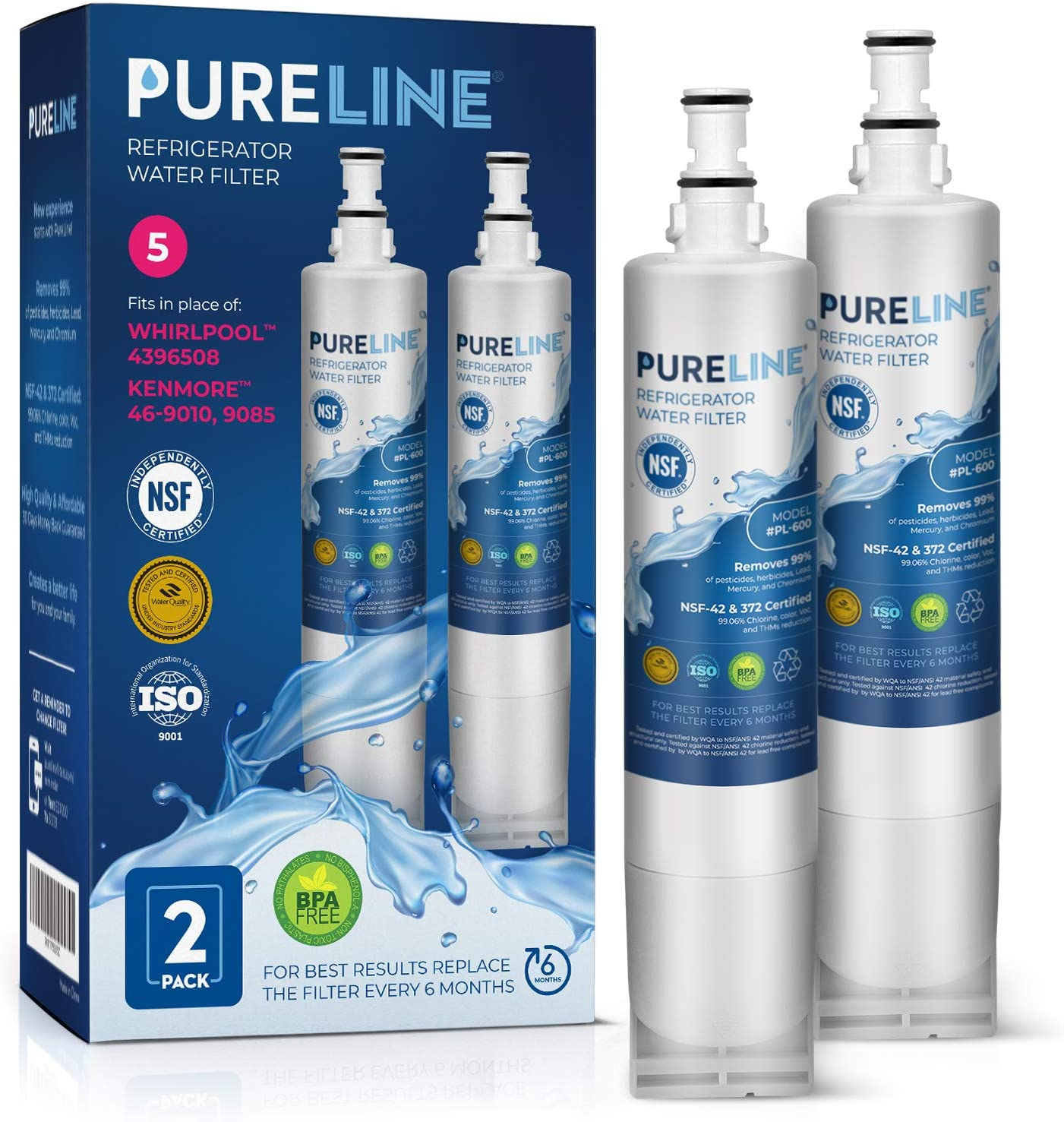 PURELINE 4396508 & EDR5RXD1 Water Filter Replacement for Whirlpool 4396508, Everydrop Filter 5, 4396510, NLC240V, PNL240V, 4396508p, 4396547, 4392857,4396510p, LC400V, Kenmore 46-9010, 9085 (2 Pack)