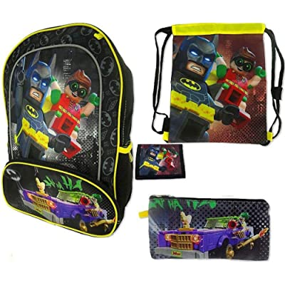 LEGO Batman 16 Inch Backpack Value Set 4pc Officially Licensed - Batman and Robin