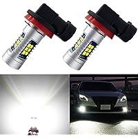 A-1ux 2-Pack 6000K Xenon White H11 H8 LED Fog Light Bulbs
