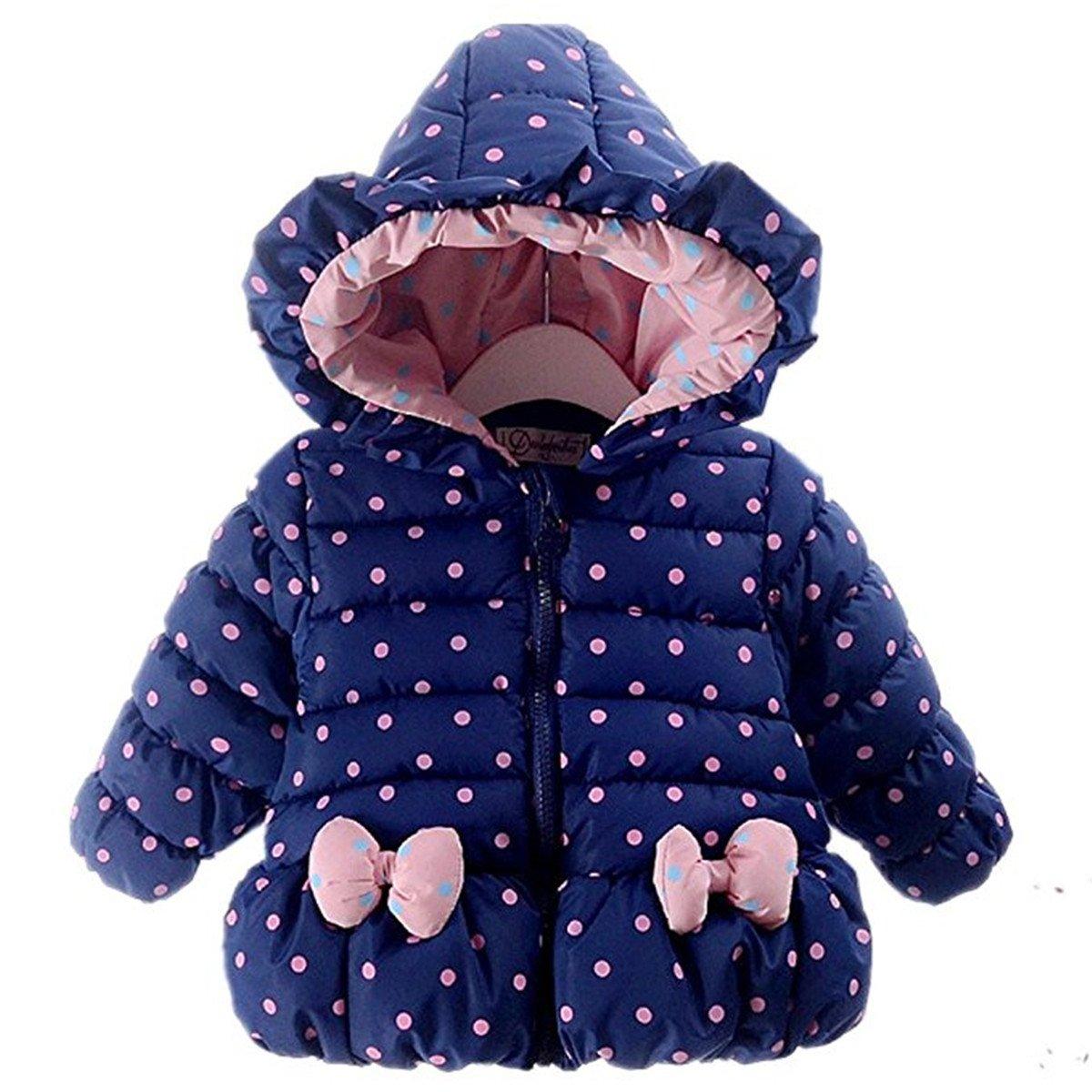 Little Girls Bowknot Dot Hoodie Winter Warm Jacket Outwear Coat 6-12 Months