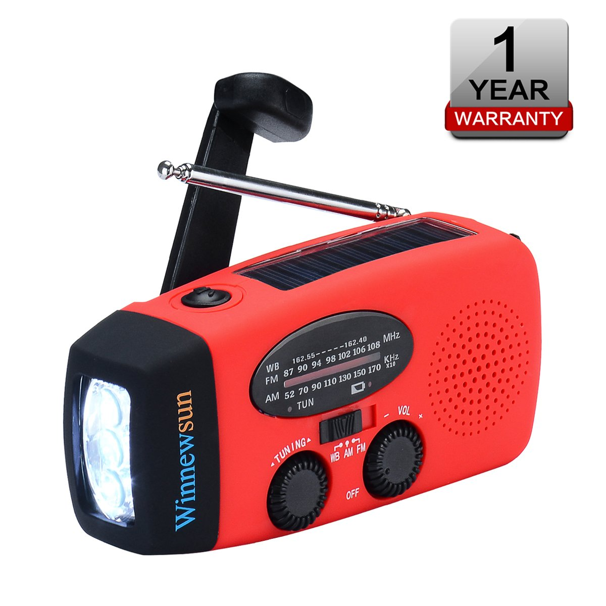 Emergency Radio Weather Radio Solar Crank AM/FM NOAA Radio 1000mAh Power Bank LED Flashlight USB Cell Phone Charger Outdoor Survival Household Emergency