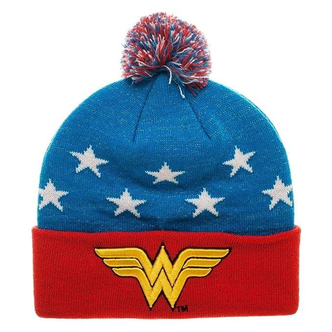 00aaf6de722 Amazon.com  DC Comics Wonder Woman Embroidered Winter Pom Beanie ...