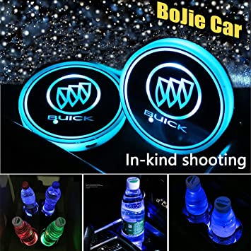 2PCS Colorful LED Car Cup Holder Pads Mats Atmosphere Lights Logo Lable Lamp