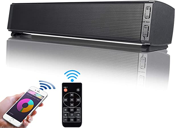 Soundbar Pc Lautsprecher Fityou Bluetooth 5 0 Tragbare 20w Wireless Mini Computer Soundbar Eingebautes Mikrofon Usb Speakers Für Tv Pc Handy Laptop Mit Fernbedienung Schwarz Audio Hifi