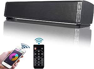Barra de Sonido, Fityou Altavoces PC Sobremesa 20W Bluetooth 5.0 Altavoz con Cable e Inalámbrico Altavoz Recargable estéreo con alimentación USB para TV/Smartphones/Ordenador/USB/TF
