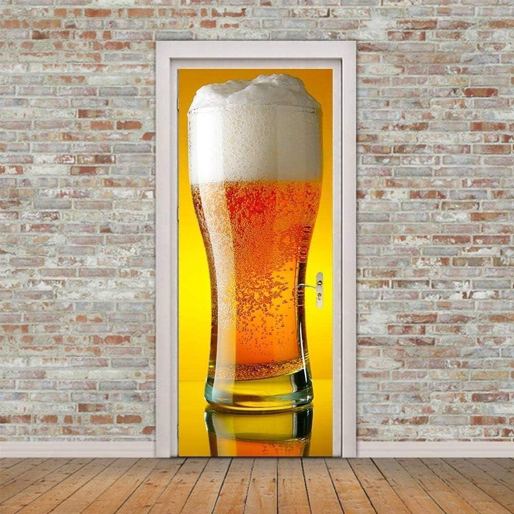 WIGGONJDW Etiqueta de la Puerta,Jarra de Cerveza Gigante 3D Sticker Decoración Puerta Etiqueta autoadhesiva, Papel Tapiz Mural Impermeable