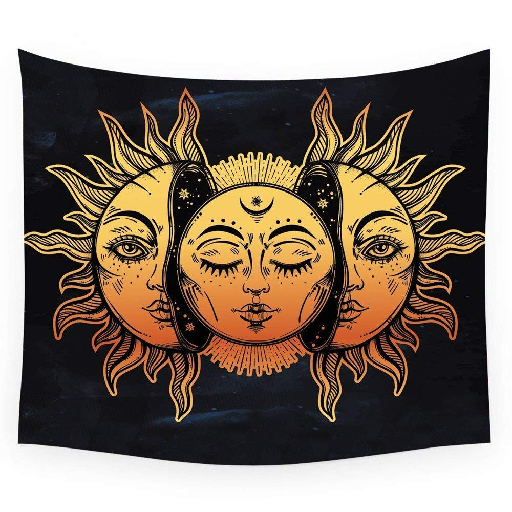 HL Wall Tapestry, Moon and Sun Face Pattern Fabric Wall Tapestry Hanging for Bedroom Living Room Dorm Handicrafts Beach Cover Up Curtain Polyester Wall Decor(60 x 80 Inch, Moon and Sun)