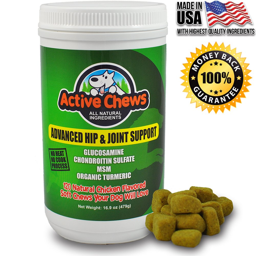 Active Chews Premium Hip and Joint Dog Treats by Glucosamine for Dogs, Chondroitin MSM and Turmeric for Dogs - Extra Strength Supplement with Arthritis Pain Relief for Dogs by Active Chews