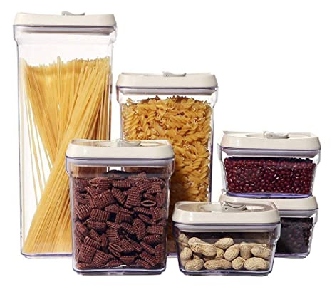 Ordinaire Dry Food Storage Containers   6 Piece Airtight Food Storage Canisters, BPA  Free,