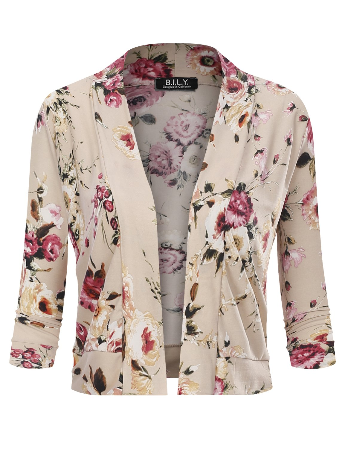 BILY Women's Classic Open Front Cropped 3/4 Sleeve Floral Print Cardigan 11992 Stone Medium by B.I.L.Y (Image #2)