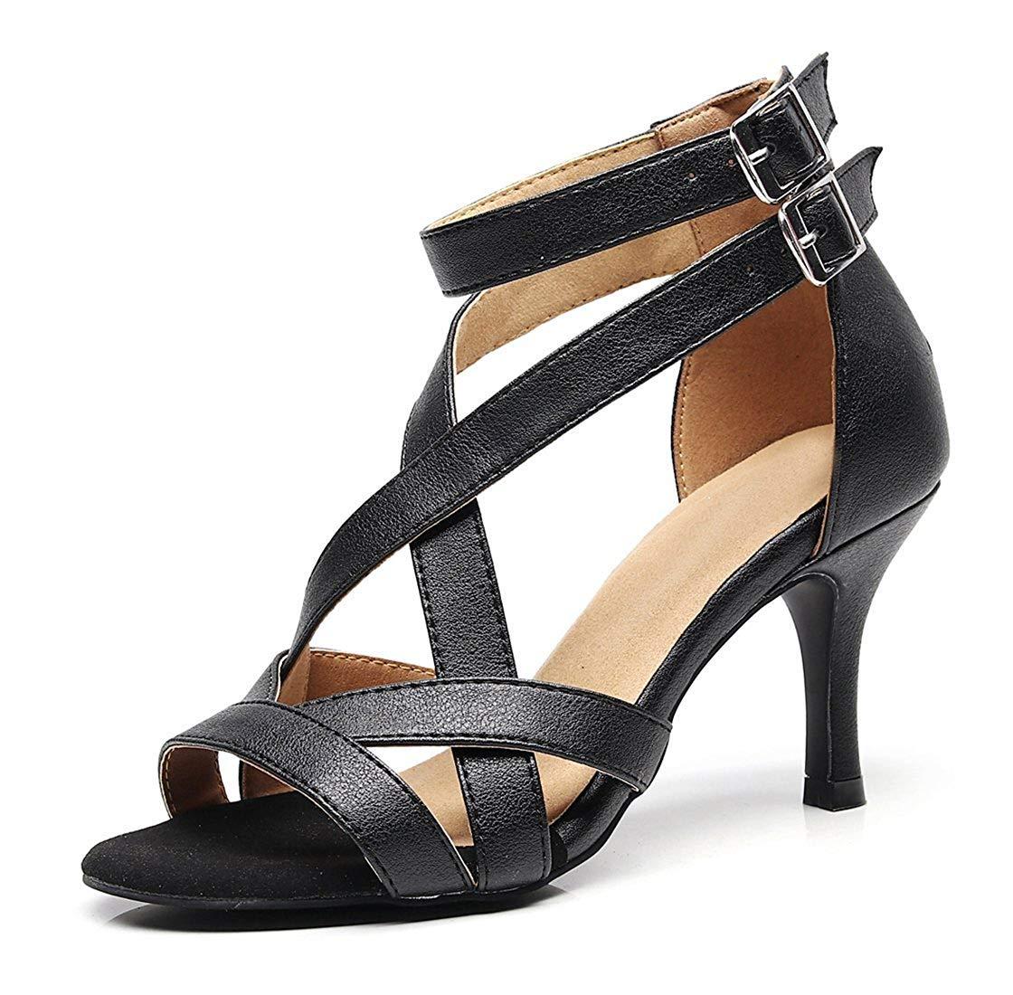 HhGold Damen weiche Gummisohle Knöchelriemen schwarz Latin Salsa Tanzschuhe Hochzeit Schuhe UK 5.5 (Farbe   - Größe   -)