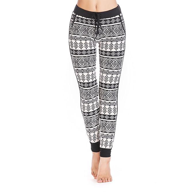 60d33eaf758bd Weavers Women's Tie Waist Printed Yoga Legging Jogger Pants with Pockets