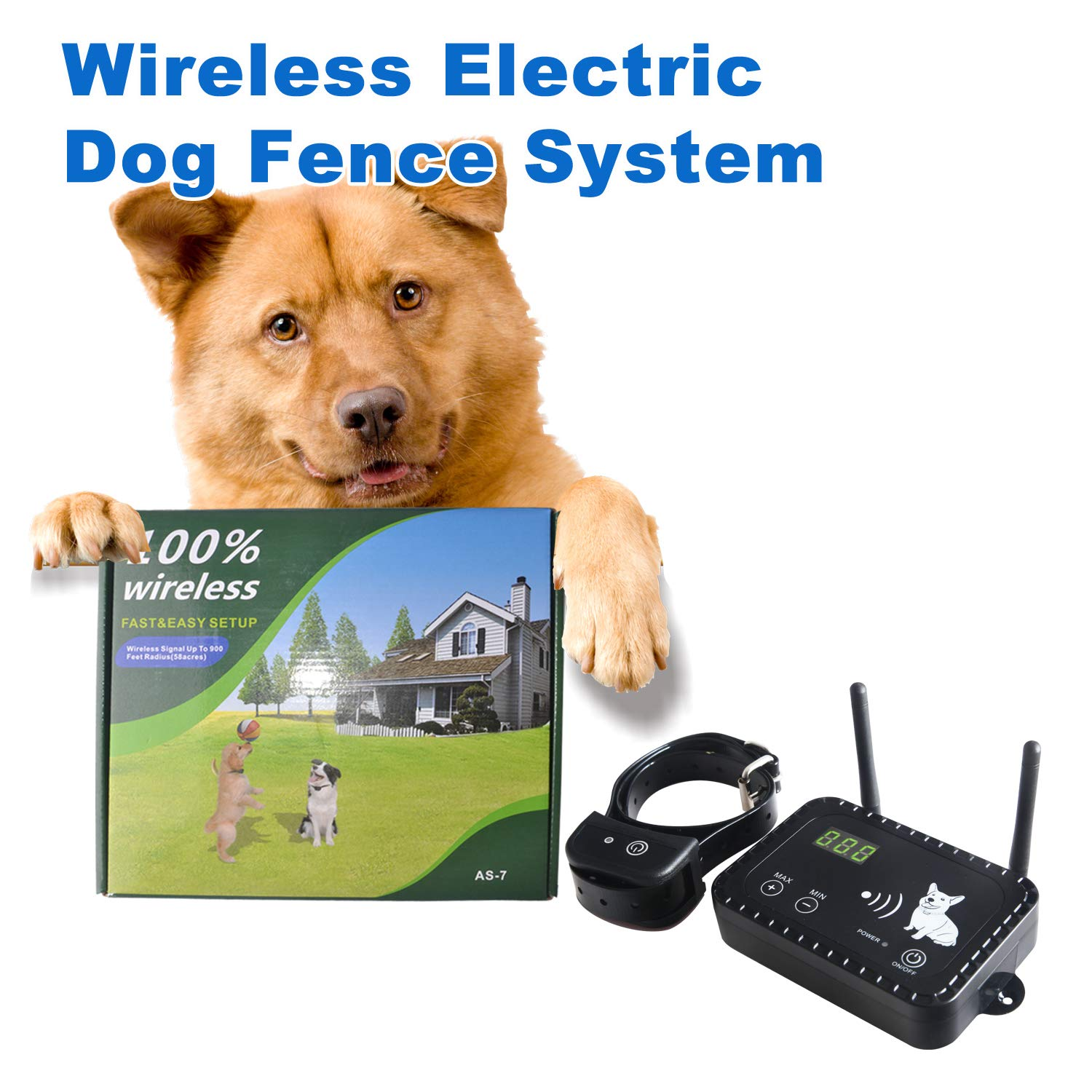 Dog Wireless Fence Pet Electric Containment System, Safe Effective Anti Over Shock Design, Adjustable Range Up to 900 Feet & Display Distance, Rechargeable Waterproof Collar Receiver (1 Dog System)