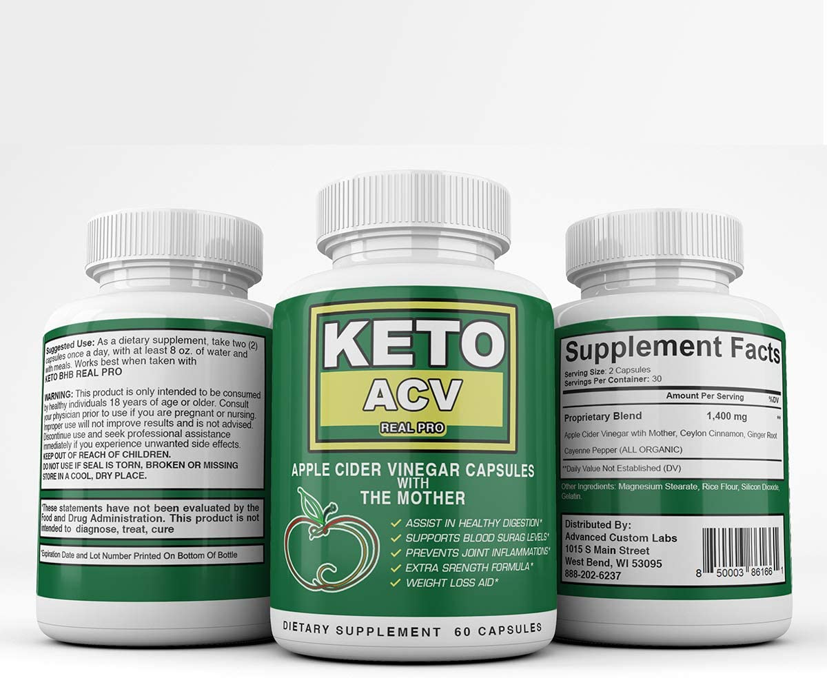 Keto ACV Real PRO - Apple Cider Vinegar Capsules with The Mother - 1 Month Supply