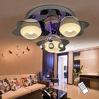 NatsenR LED Kristall Deckenleuchte Deckenlampe Designer Wohnzimmer Lampe 3 Flammig E27 Fernbedienung 60