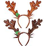 HANSGO Reindeer Antlers Headband, 2PCS Deer Antlers Headband with Bells Cute Christmas Reindeer Ears Headband