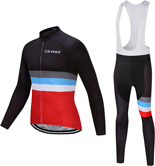 b86a5c28a5b6 Amazon.com  Coconut Ropamo Fall Outdoor Sports Wear Men s Cycling Jersey  Long Sleeve Bike Clothing Shirt - Cycling Bib Leggings Tights with Pad  (Small