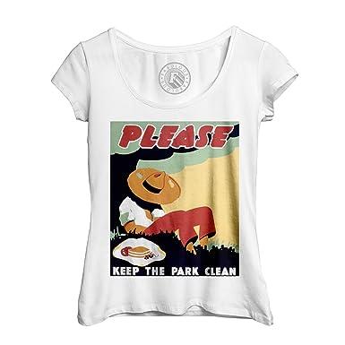 d23163598b89 Fabulous T-Shirt Femme Col Rond Echancré Please Keep The Park Clean Jardin  Herbes Vintage