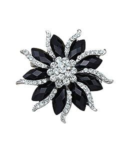 Fleur Broche fleur de Xiton Femmes Noir Cristal Rhinstones Pin