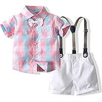 Kimocat Baby Clothes Gentleman Suit Style Short Sleeve Shirt + Bowtie + Short Suspenders