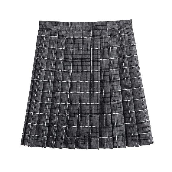 CHAKWAN Falda Plisada de Cintura Alta para Mujer, Falda Corta para ...