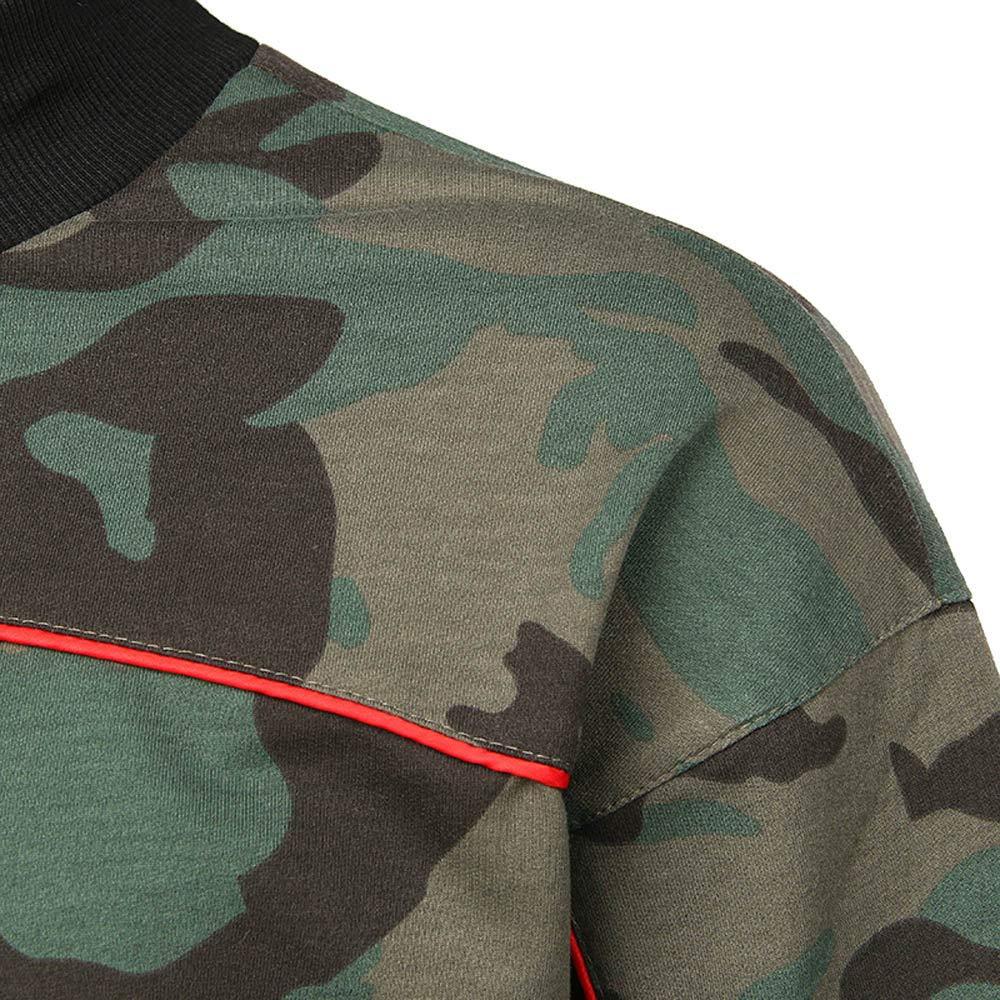 OOEOO Mens Casual Long Sleeve Camouflage Crew Neck Winter Sweatershirt Top