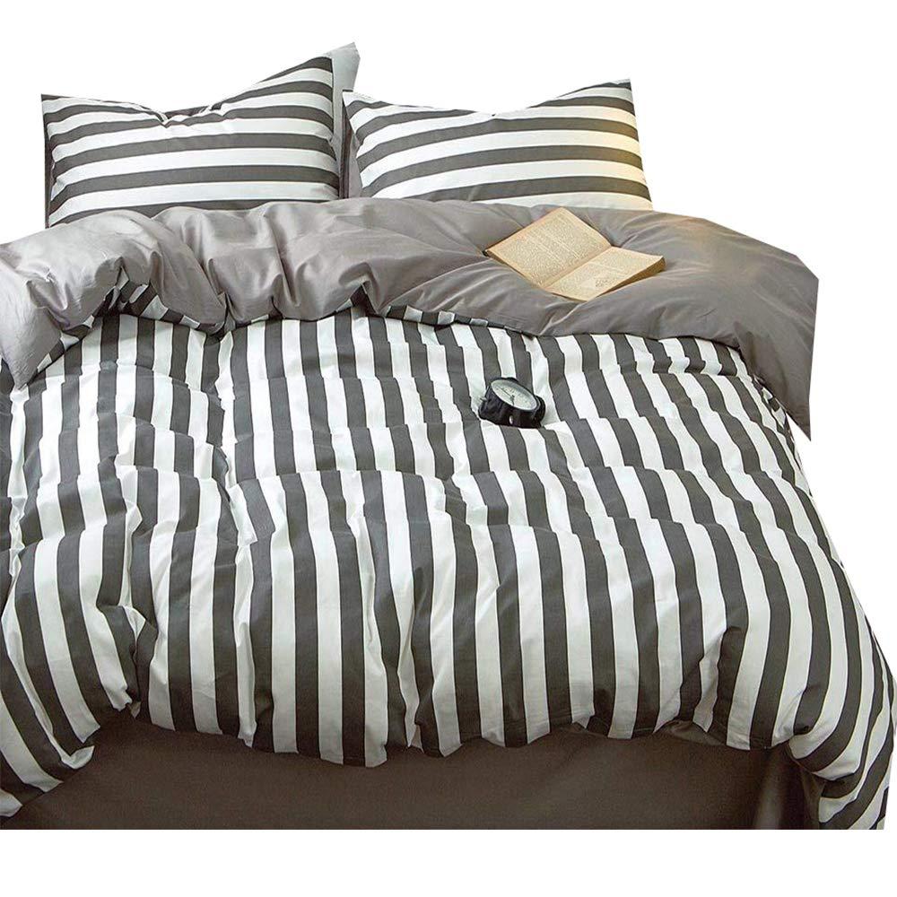 LifeTB Hotel Luxury Striped Bedding Set King Cotton Microfiber Reversible Duvet Cover Set Modern Men Boys Bedding Cover Set 1 Duvet Cover 2 Pillowcases King Bedding Collection