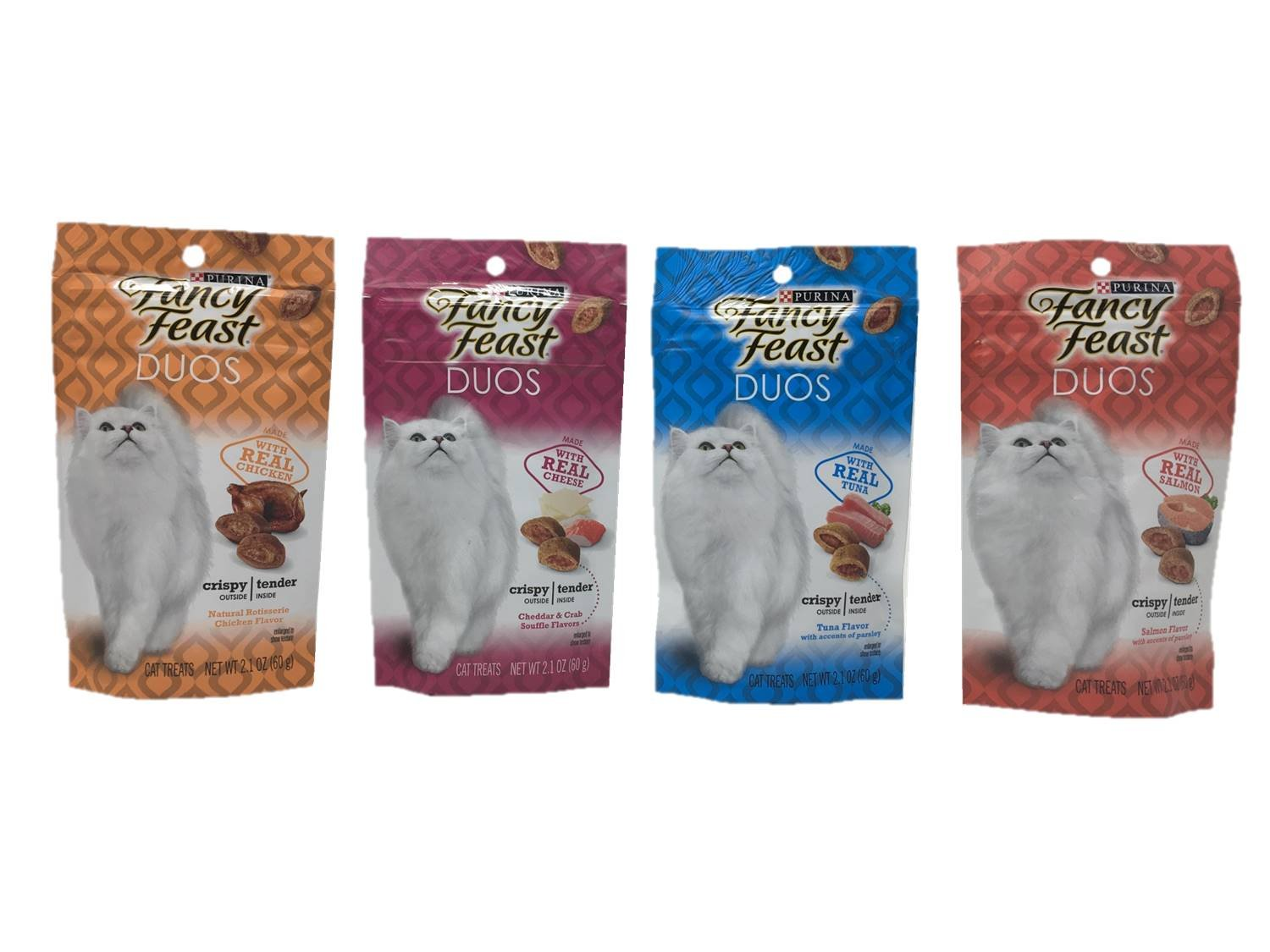 Purina Fancy Feast Duos Cat Treats Variety Pack Bundle Set of 4 Flavors, 2.1 ounces each (Natural Rotisserie Chicken, Cheddar & Crab Souffle, Tuna, Salmon)