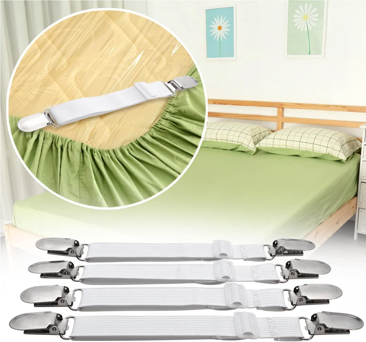 4pcs Adjustable Bed Sheet Corner Holder Elastic Straps Fasteners Clip new SL