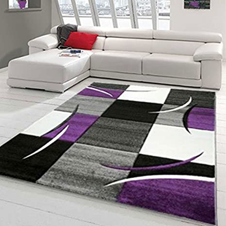 T&T Design Tapis de salon moderne à carreaux - Contours ...