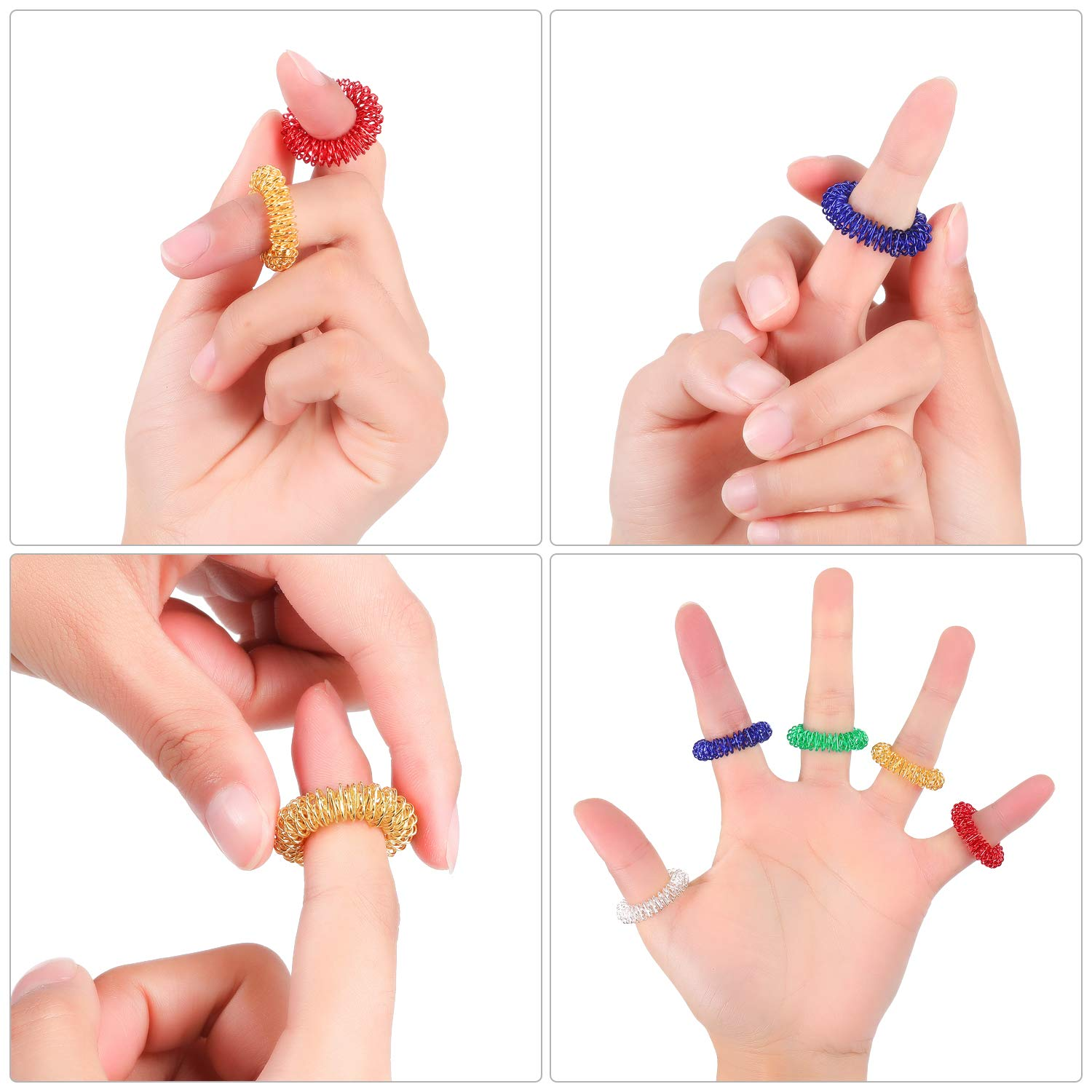 Silent Stress Reducer and Massager Multicolor 1, 50 Pieces Spiky Finger Ring//Acupressure Ring Set for Teens Adults 50 Pieces Spiky Sensory Finger Rings