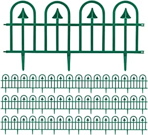 Sunnyglade 12 Pack Garden Edging Decorative Border Recycled Plastic Landscape Garden Fence Flexible No-Dig Spikes Ornamental Wrought Iron Style Decorative Border,Dark Green