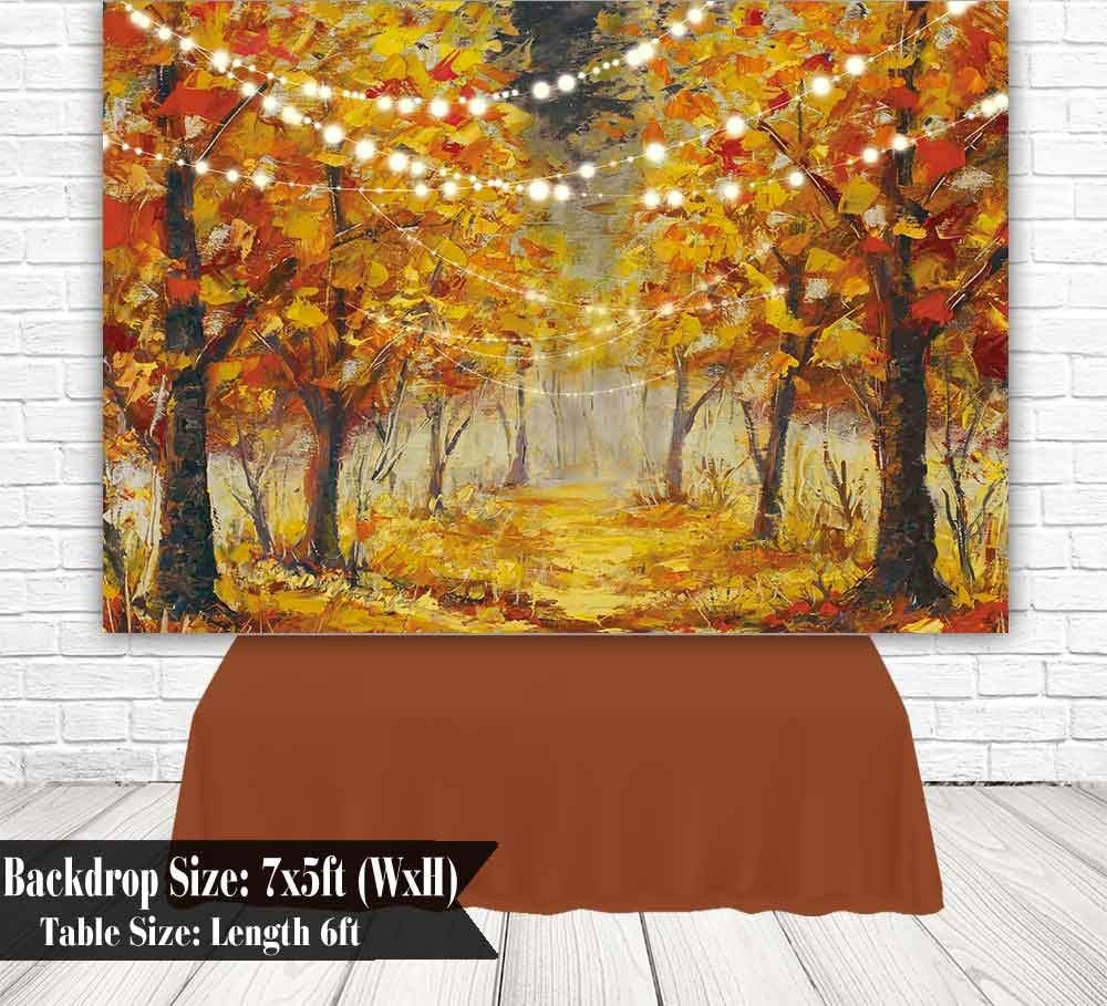 Funnytree 7x5ft Autumn Forest Scenery Photography Backdrop Thanksgiving Golden Fall Landscape Background Nature Path Maple Leaves Baby Adult Portrait Party Decoration Banner Photo Booth Studio Props