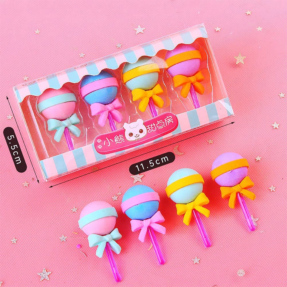 3D Lollipop Pencil Erasers Take Apart Erasers Food Dessert Candy Cute Cartoon Puzzle Erasers Novelty Toys for Birthday Party Favors Classroom Rewards Games Prizes Carnival Gifts School Supplies