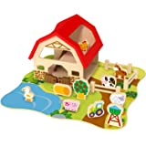 Farm Set Wooden Four Pieces Puzzle Playset with Animal House & Yard & Animals & Little Girl & Boy Ladder Accessories-TY053-S7