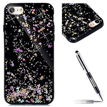 98c4dad40d49 JAWSEU iPhone 8 Coque Transparent Glitter,iPhone 7 Etui en Silicone Clair  avec Pailletee,